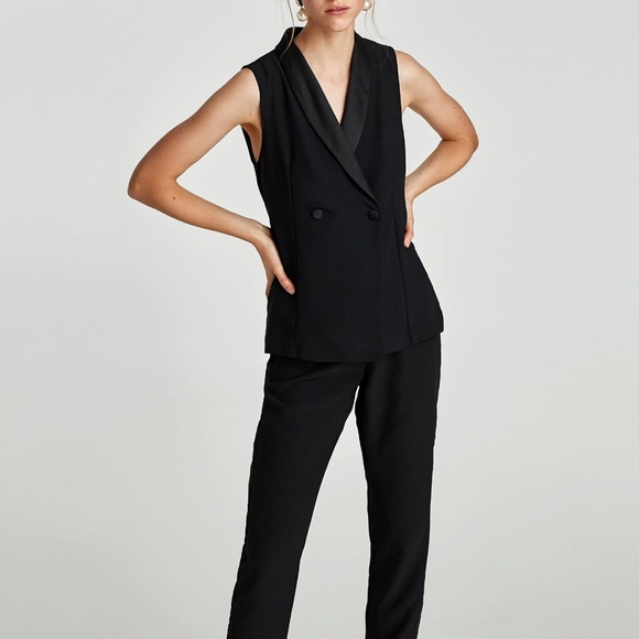 87a437ec5f15 NWT Zara Black Tuxedo Blazer Style Jumpsuit